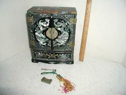 Vintage Jewelry Box Japanese Black Lacquer Mother Of Pearl Ornate Antique Dragon