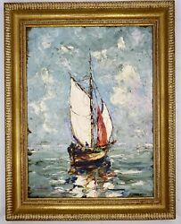 Antique Oil On Board E. Ferenczy 1862-1917 Oil Painting Of A Ship