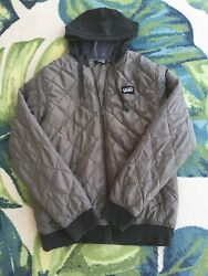 Mens Off The Wall Quilted Zip Up Jacket Gray Size M