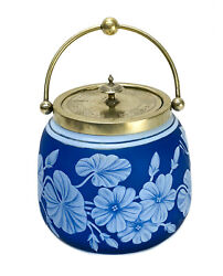 Thomas Webb Blue And White Cameo Glass And Silverplate Biscuit Jar
