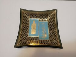 Vintage Mid Century Modern Glass Asian Gold And Black Tray Ashtray