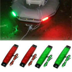 4x Boat Navigation Lights Led Lighting Red And Green Waterproof Marines