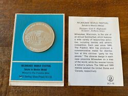 Solid Sterling Silver 1oz. Proof Coin Franklin Mint Milwaukee World Fest Sci-16