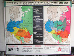 Schulwandkarte Wall Map East Middle Europe 19 +20. Century 92 1/8x73 3/16in