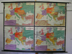 Wall Map History Europe 20jh.205x157 1954 Vintage European History Was Maps