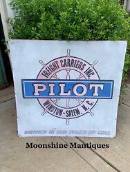 Vintage Pilot Freight Carriers Trucking Company Sign - Winston Salem Nc