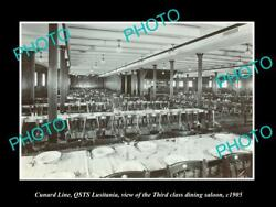 Old Postcard Size Photo Of Cunard Line Qsts Lusitania 3rd Class Dining 1905