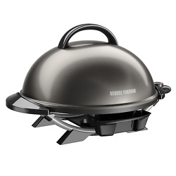 George Foreman Indoor Outdoor 15-serving Electric Grill Gray W/ Removable Stand