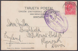 1907 Gb Used Abroad I.e. Barbados Cds / Royal Mail Steam Packet Boat Cachet Ppc