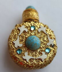Antique Jeweled And Filigree Miniature Perfume Scent Bottle