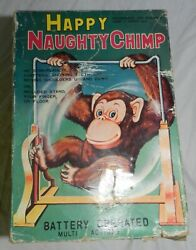 Vintage Battery Operated Happy Naughty Chimp With Box By Daishin Working