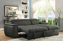 Graphite Faux Nubuck Fabric Tufted Seat Sectional Sofa Chaise Living Room Couch