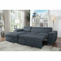 Blue Gray Faux Nubuck Fabric Tufted Seat Sectional Sofa Chaise Living Room Couch
