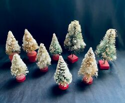 9 Vintage Miniature Bottle Brush Christmas Trees With Snow, Wood Bases
