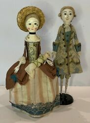 Queen Anne English Wooden Doll Set By Artist Peter Wolf 18th C. Reproduction