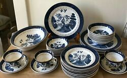 Lovely 37 Piece Set Nikko Antique Willow Blue Willow Dishes