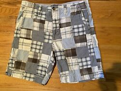 Mens American Eagle Plaid Patchwork Shorts Size 36 Gray White