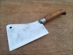 Superb Antique Landij White Buffalo Ny Butcher's 6 Meat Cleaver Knife In A+ Cond.