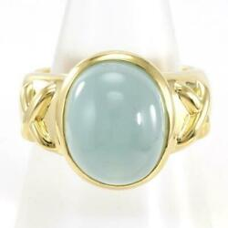 18k Yellow Gold Ring 17 Size Aquamarinecatand039s-eye About14.8g Free Shipping Used