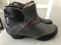 Aetrex Womens Color Block Leather Side Zip Comfort Ankle Boots Booties 9.5m Euc