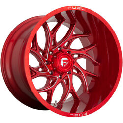 4-fuel D742 Runner 22x10 8x180 -18mm Red/milled Wheels Rims 22 Inch