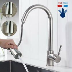 Stainless Steel Sink Faucet Single Handle Spring Pull Down Sprayer Mixer 2021