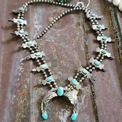 Sterling Silver Squash Blossom Necklace Turquoise Native American Indian Sale