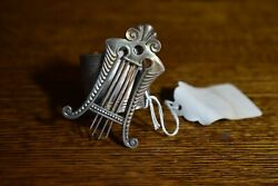 Cute American Victorian Silverplate Napkin Ring With Lyre And Floral Engrave--9