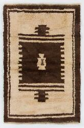 4x6 Ft Vintage Tulu Rug In Archaic Design Made Of Natural Undyed Wool