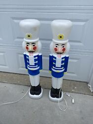 """40"""" Tall Blue Lighted Nutcracker Blow Mold Soldier Christmas 1987 Set Of 2"""