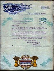 1909 Council Bluffs Ia Agricultural Pioneer Implement Co -- Letter Head History