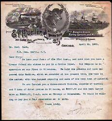 1900 Chicago Il - E P Mueller - Dairy Feed - Brewers Barley Letter Head History