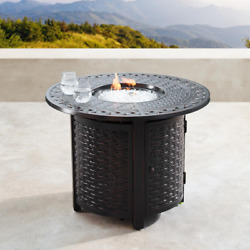 34 In. Round Aluminum Outdoor Propane Fire Table With Fire Beads, Lid, And Cover