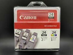 Canon Bci-24 Ink Cartridges Two Black/one Color 3 Pack Brand New Free Shipping
