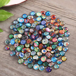 200pcs 12mm Mixed Round Glass Mosaic Tiles Bottons For Crafts Jewelry Making Diy