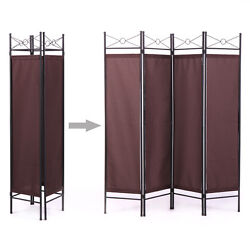 6ft Extra Wide 4 Panel Room Divider Folding Privacy Screen W/steel Frame Brown