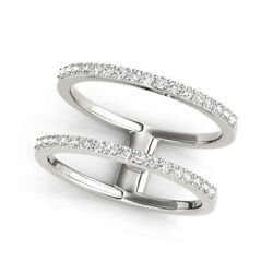 14k White Gold Dual Band Design Ring With Diamonds 1/3 Cttw