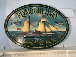 Vtg Huge Plymouth Lines London Hand Painted Collectable Advertising Sign