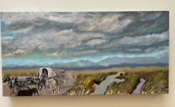 Original Oil Painting Landscape Western Contemporary Art Wagon Train Horse Water