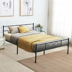 Contemporary Metal Platform Bed Black Metal Bed Frame Queen Victorian Style