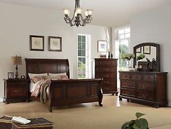 Traditional Cherry Queen Cal King Est King Sleigh Bed Dresser Mirror Nightstand