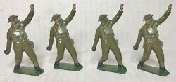 Antique Britains Toy Soldiers 4 Pre Ww2 Us Army Throwing Grenade Set 1624