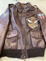 A2 Avirex Pilot Jacket 44 The Right Stuff Flying Tiger Blood Chit Squadron Patch