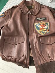 Avirex A2 Flying Tiger Pilot Jacket Nos Blood Chit Squadron Patch Bomber