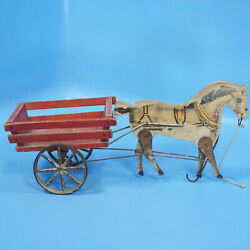 Antique Pull Toy Horse And Cart Pacing Bob Gibbs Wood Metal Movement/action