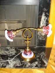 Vintage Fenton Cranberry Opalescent Daisy And Fern Double Adjustment Lamp