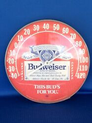 Vintage Budweiser Beer Round Advertising 12 Wall Thermometer Ohio Jumbo Dial
