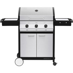 Meridian 3-burner Propane Gas Bbq Grill In Stainless Steel With 2-door Cart And