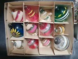 12 Vintage Shiny Brite Striped Unsilvered Glass Christmas Ornaments