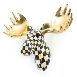 Mackenzie Childs Courtly Check Cabincountry Farmhouse Small Moose Head M21-my